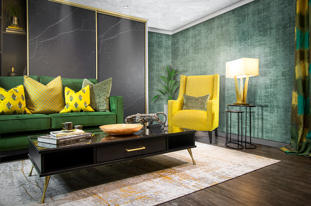 Sliderobes Black and Gold Marble Look Living Space