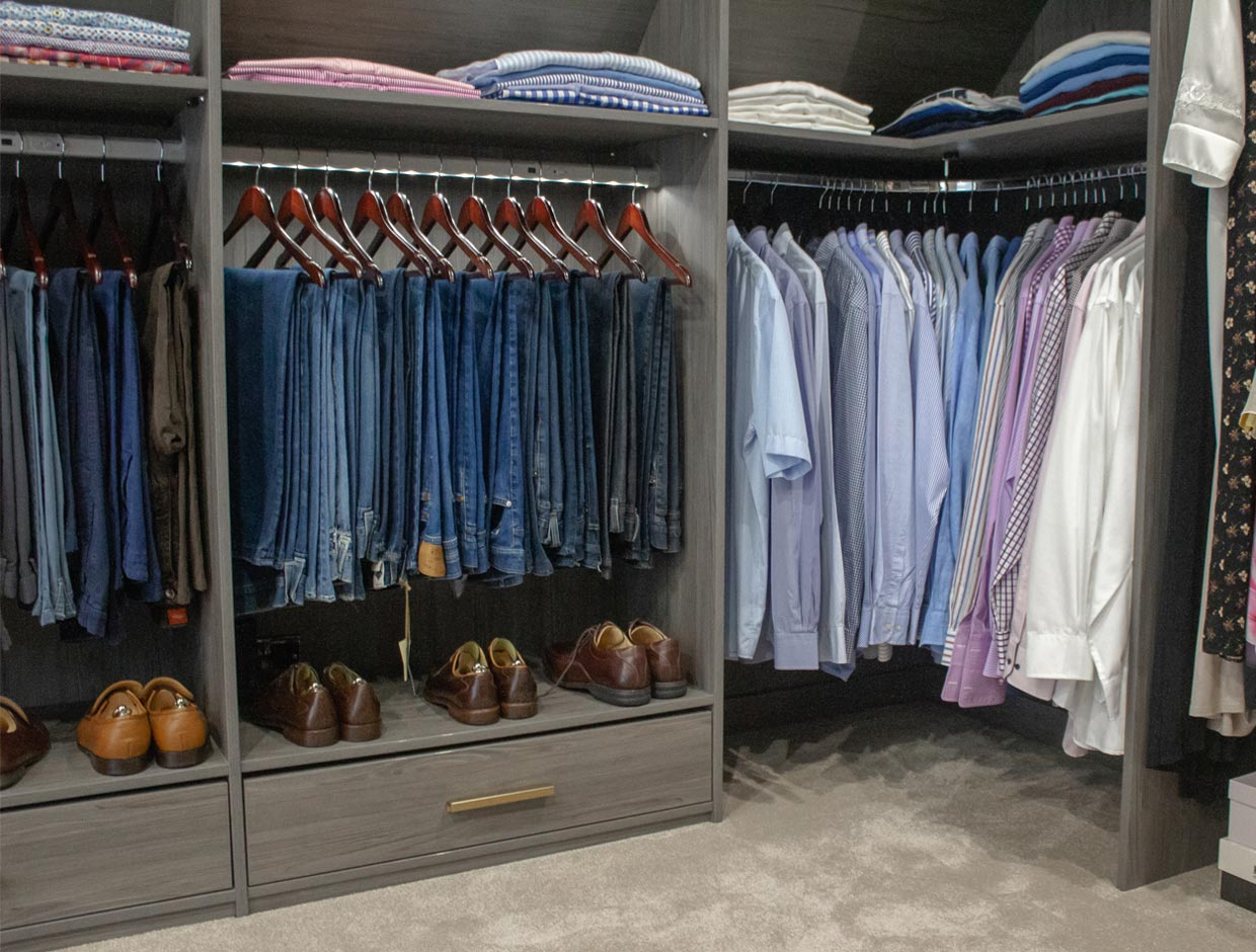 Walk In Wardrobe Hanging Space and Storage Solutions