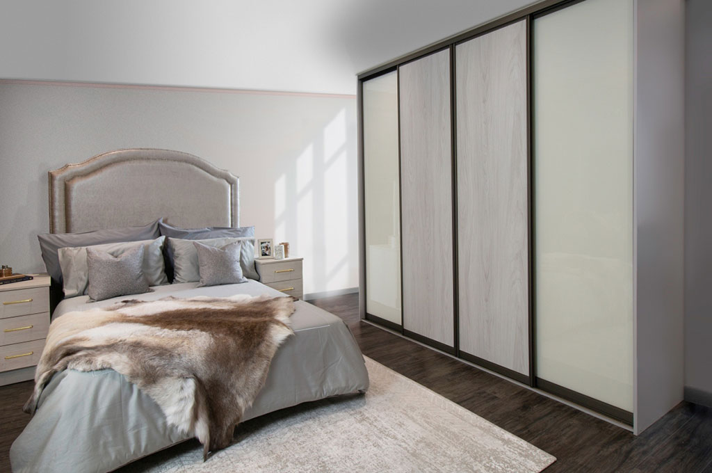 four slim sliding door wardrobe in wood and glass